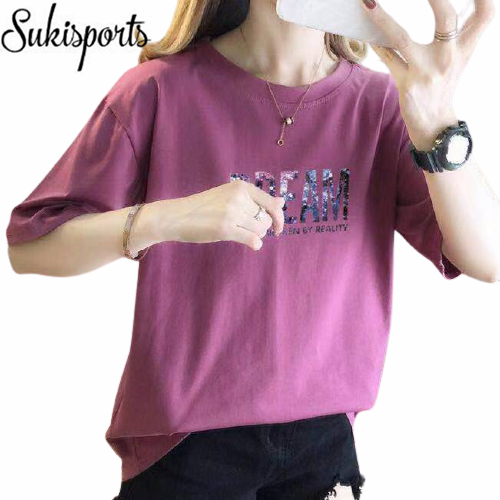 Womens Cute Printed Short Sleeved Cotton T Shirt 8
