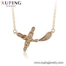 44542 xuping 18k bañado en oro simple cruz collar colgante para damas