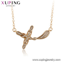 44542 xuping 18k gold plated simple cross pendant necklace for ladies