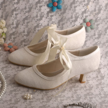 Low Heel Mary Jane Trouwschoenen Ivory