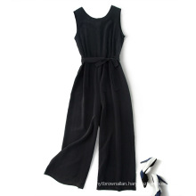 Hot Sale Black O-neck long Jumpsuit for Women