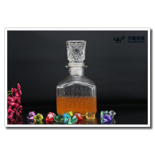 Factory Supply 420ml Square Embossed Glass Wine Bottle with Lid