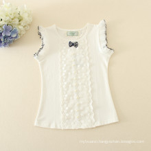 one set piece wholesale clothes dotted skirt white tee top for children short light pink dotted dress