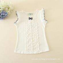 Um conjunto pedaço de roupa por atacado pontilhada saia branca tee top para crianças curto luz rosa pontilhada dress