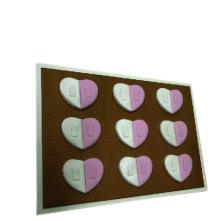 Blanco y rosa de cuero de forma de corazón de la tabla de anillos de diseño de la bandeja (TY-18R-HTD)