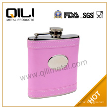 Leather stainless steel wholesale liquor buy hip flask