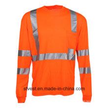 T-Shirt de sécurité T-shirt à manches longues à haute visibilité Vêtements de sécurité réfléchissants Vêtements de travail Hello Vis Work Tissu à sec