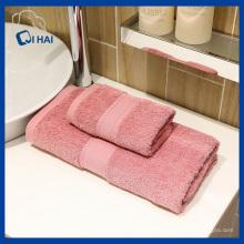 Ensembles de serviettes en coton 100% roses (QHD885)