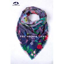Xaile de lã de Merino solúvel extra fino com estampas digitais