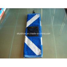 100% Cotton Jacquard Golf Towel with Pocket (SST1015)