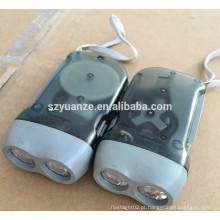 2 LED plástico mão pressionando recarregável Dynamo lanterna tocha