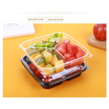 Pet Clear Plastic Compartment Take Away Salad Food Container Tray 9