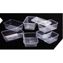 Plástico retangular para levar recipiente de alimentação microondas 500ml