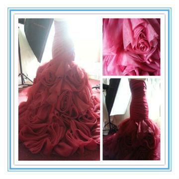 New Arriva Wine Red Organza Ruffle Skirt Mermaid Wedding Dresses (WDS-1025)