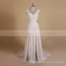 Envoltura Boho vaina Cap manga de encaje de gasa plisada vestido de novia