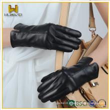 Classique Gants en cuir pour dames noires Laine d'hiver Gants de cuir en peau de mouton garnis par des femmes