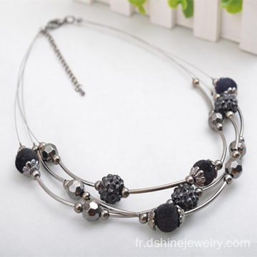 Multi couches minuscules perles collier avec real Choker de Shamballa