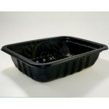 Recipiente descartável do alimento plástico preto da preservação do alimento da exposição do supermercado da exposição da indústria alimentar