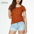 Lässige Baumwolle Solid Frauen T-Shirt
