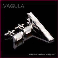 VAGULA mère de perle Tie Bar mer Shell Pin Gun Black Tie cravate Set (T62281)