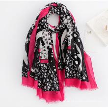 Moda feminina impresso lenço de seda de viscose (yky1131)
