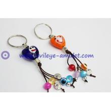 Evil eye smile heart-shaped key chain and charm