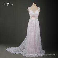TW0171 Backless Dress French Lace Fabric Beach Dress Blush Pink Wedding Dress