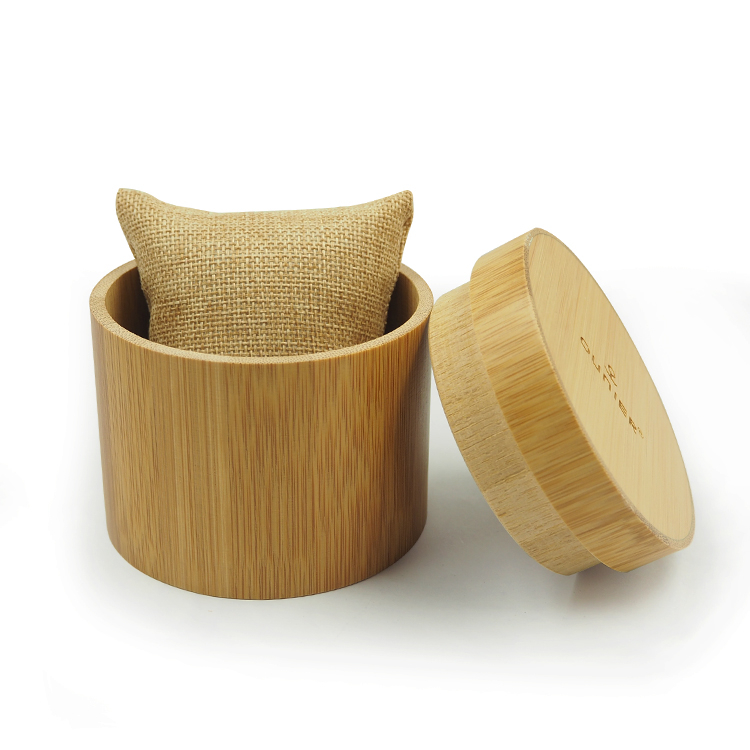 Elegant Wooden Round Shape Bamboo Watch Box