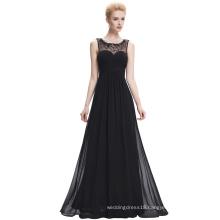 Starzz Sleeveless Black Chiffon Long Cheap Prom Dresses ST000060-1