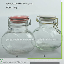 470ml de vidrio de almacenamiento de vidrio ovalado con clip tapa de cristal Canister de venta al por mayor