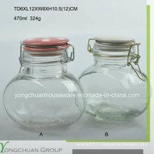 Gain de stockage en verre ovale 470ml avec coussin en verre clip