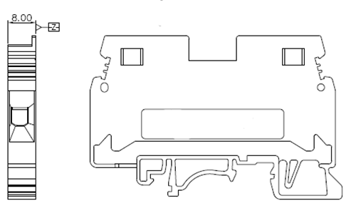 DIN Rail Industrial Distribution Connector 6mm2