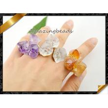 Аметист природы Аметист кварц Друи кольцо камень, позолоченные регулируемые кольца перстень драгоценных камней (FR005)