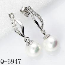 Pendientes de perlas de plata de ley 925 de joyería de moda (Q-6947)
