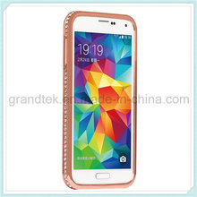Lujo Bling Diamante Metal caso de parachoques para Samsung S5
