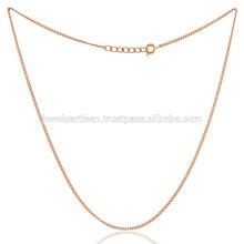18K banhado a ouro Flat Bronze ligado feito à mão 20 polegadas Plain Cable Chain Jewelry