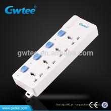 Feito na China interruptor elétrico seguro e tomada de alimentação com proteção de sobrecarga