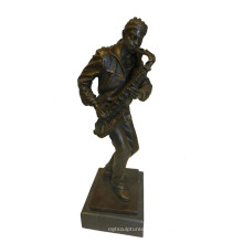 Musik Dekor Messing Statue Schwarzer Mann Spieler Bronze Skulptur Tpy-753