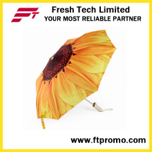Guarda-chuva aberto personalizado do manual do promotionable para 3 dobrar-se