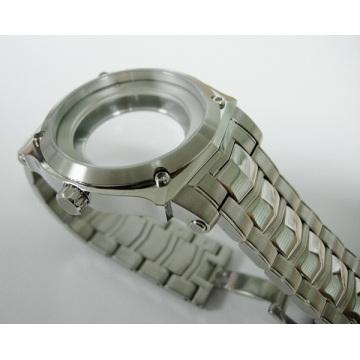 Watchcase 316L de aço inoxidável com o bracelete de aço para cavalheiros