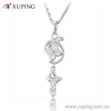 Colgante de imitación de la joyería del rodio del encanto de la manera con CZ Flower Design -30196