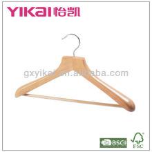 Wooden coat hanger with wide shoulders and wooden bar