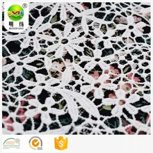 Hot sale 100% polyester embroidery lace dress fabric
