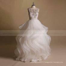 Perles de luxe à la mode Fleurs sur le corps V Sexy Back Ruffle Skirt Party Wedding Ball Gown