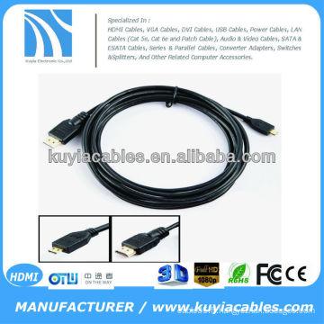 6FT 1.8M Micro Câble HDMI Haute vitesse 3D avec Ethernet, HDMI Mâle à Micro HDMI Mâle Type D 1080P