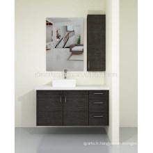 Australia Style Modern Wood Veneer Ensemble de cabinet de toilette à meuble mural avec comptoir en quartz à vendre