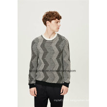 Special Pattern Round Neck Striped Knit Men Sweater