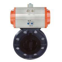 Válvula de mariposa neumática de plástico para el sistema de tratamiento de agua