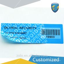 Fabricante suministra etiqueta de seguridad en blanco con entrega rápida