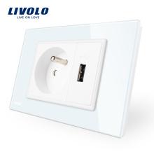 Livolo Français Prise de courant avec prise usb Prise de courant murale en verre cristal blanc / noir VL-C9C1FR1U-11/12